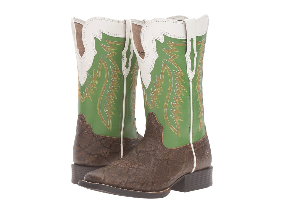 Image of Ariat Kids - Buscadero (Toddler/Little Kid/Big Kid) (Tan Elephant Print/Clover Green) Cowboy Boots