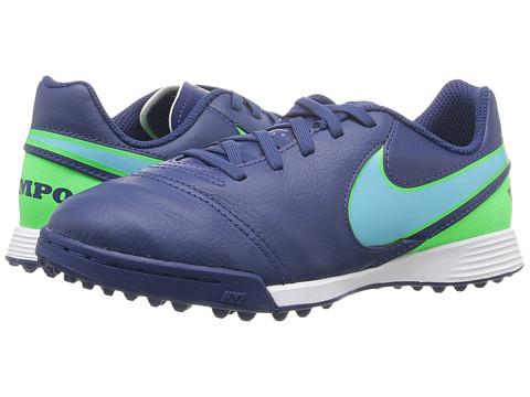 Nike Kids Jr Tiempo Legend VI TF Soccer (Toddler/Little Kid/Big Kid) - Coastal Blue/Rage Green/Polarized Blue