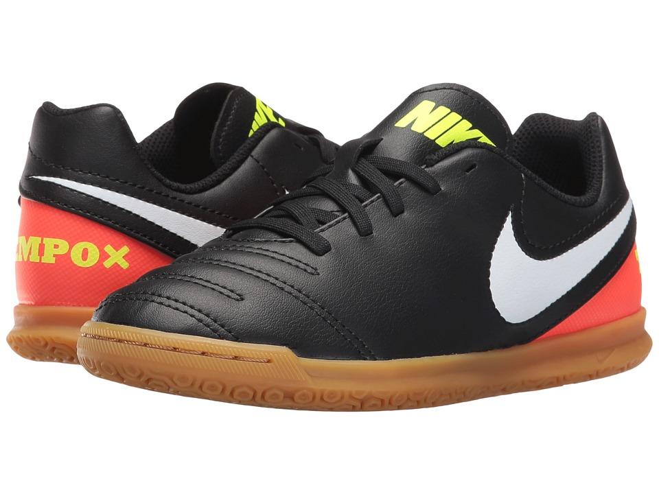 Nike Kids - Jr Tiempo Rio III IC Soccer (Little Kid/Big Kid) (Black/Hyper Orange/Volt/White) Kids Shoes