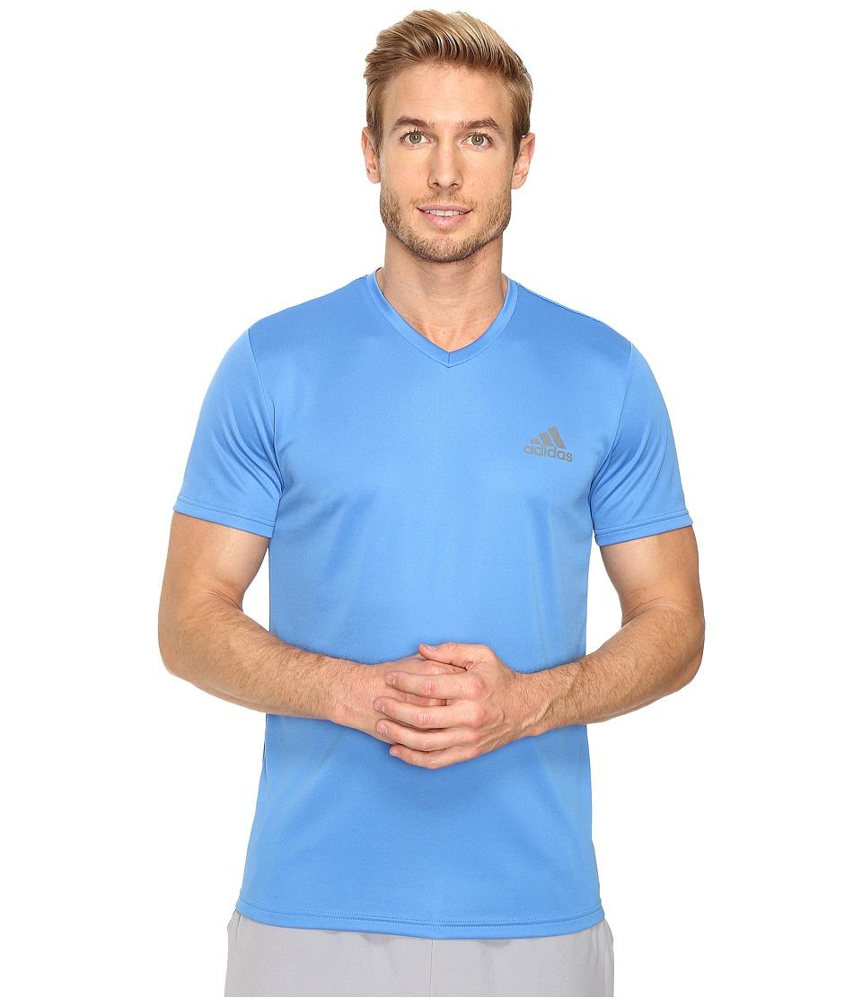 adidas Essential Tech V-Neck Tee (Ray Blue/Vista Grey) Men