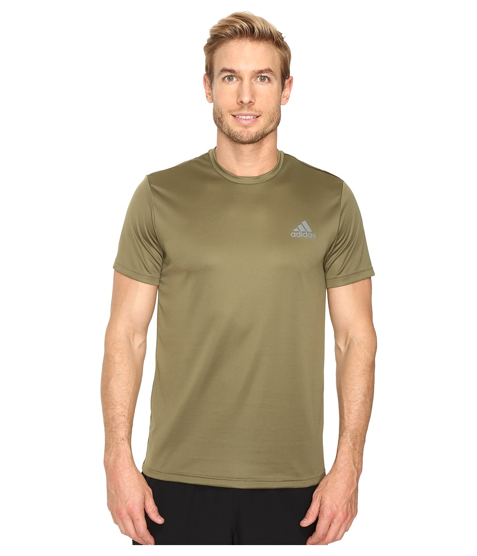 adidas Essential Tech Crew Tee (Olive Cargo/Vista Grey) Men