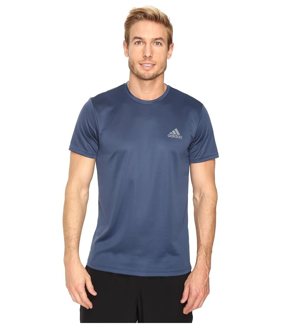 adidas Essential Tech Crew Tee (Mineral Blue/Vista Grey) Men