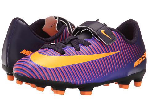 Nike Kids Jr Mercurial Vortex III (V) FG Soccer (Toddler/Little Kid) - Purple Dynasty/Hyper Grape/Total Crimson/Bright Citrus