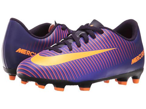 Nike Kids Jr Mercurial Vortex III FG Soccer (Little Kid/Big Kid) - Purple Dynasty/Hyper Grape/Total Crimson/Bright Citrus