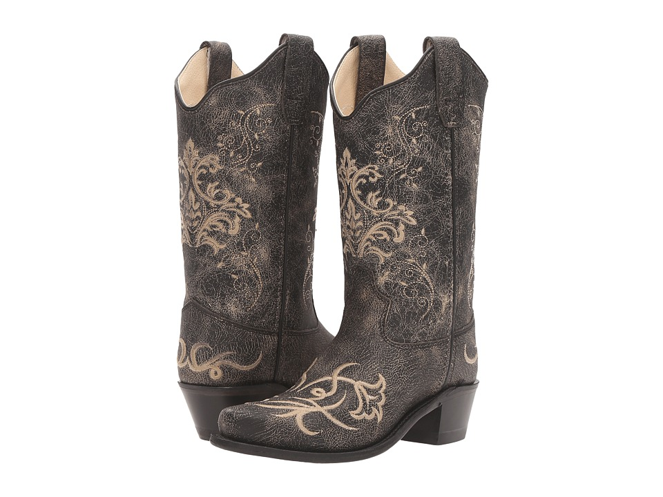 Old West Kids Boots - Embroidered Vintage Charcoal Snip Toe