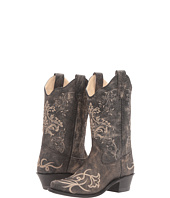 Old West Kids Boots - Embroidered Vintage Charcoal Snip Toe (Big Kid)