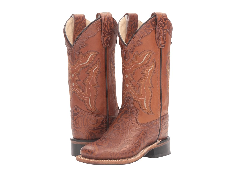 Old West Kids Boots - Square Toe Handed Tooled Print