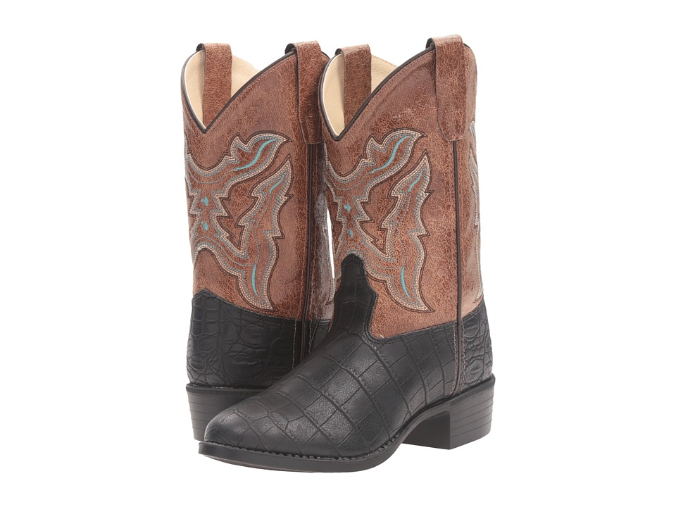 Old West Kids Boots - Round Toe Croco Print