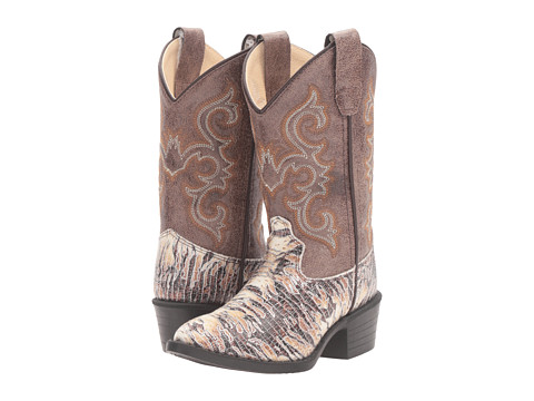 Old West Kids Boots J Toe Lizard Print (Toddler/Little Kid) - Chocolate