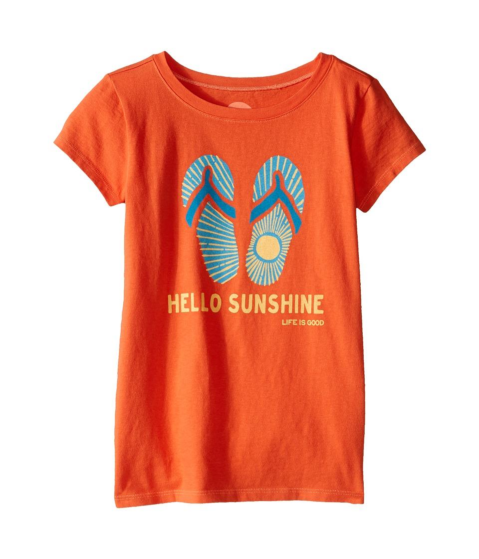 Life is good Kids Flip Flops Sun Crusher Tee Little Kids/Big Kids Coral Orange Girls T Shirt