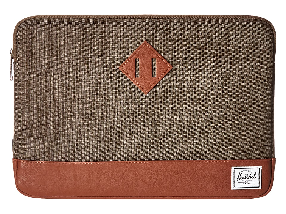 Herschel Supply Co. - Heritage Sleeve for 13inch Macbook (Canteen Crosshatch/Tan Synthetic Leather) Computer Bags