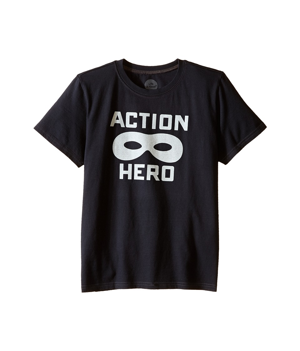 Life is good Kids - Action Hero Mask Crusher Tee (Little Kids/Big Kids) (Night Black) Boy