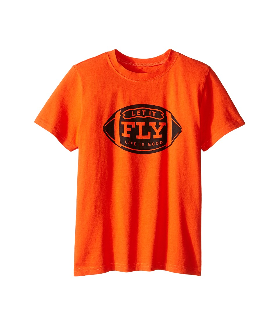 Life is good Kids - Let It Fly Football Crusher Tee (Little Kids/Big Kids) (Flame Orange) Boy