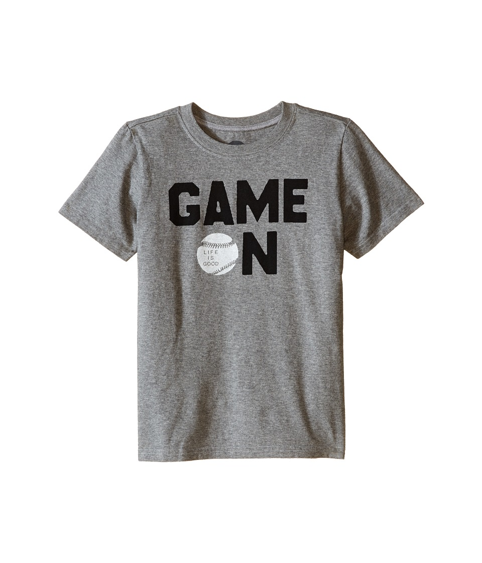 Life is good Kids - Game On Baseball Crusher Tee (Little Kids/Big Kids) (Heather Gray) Boy