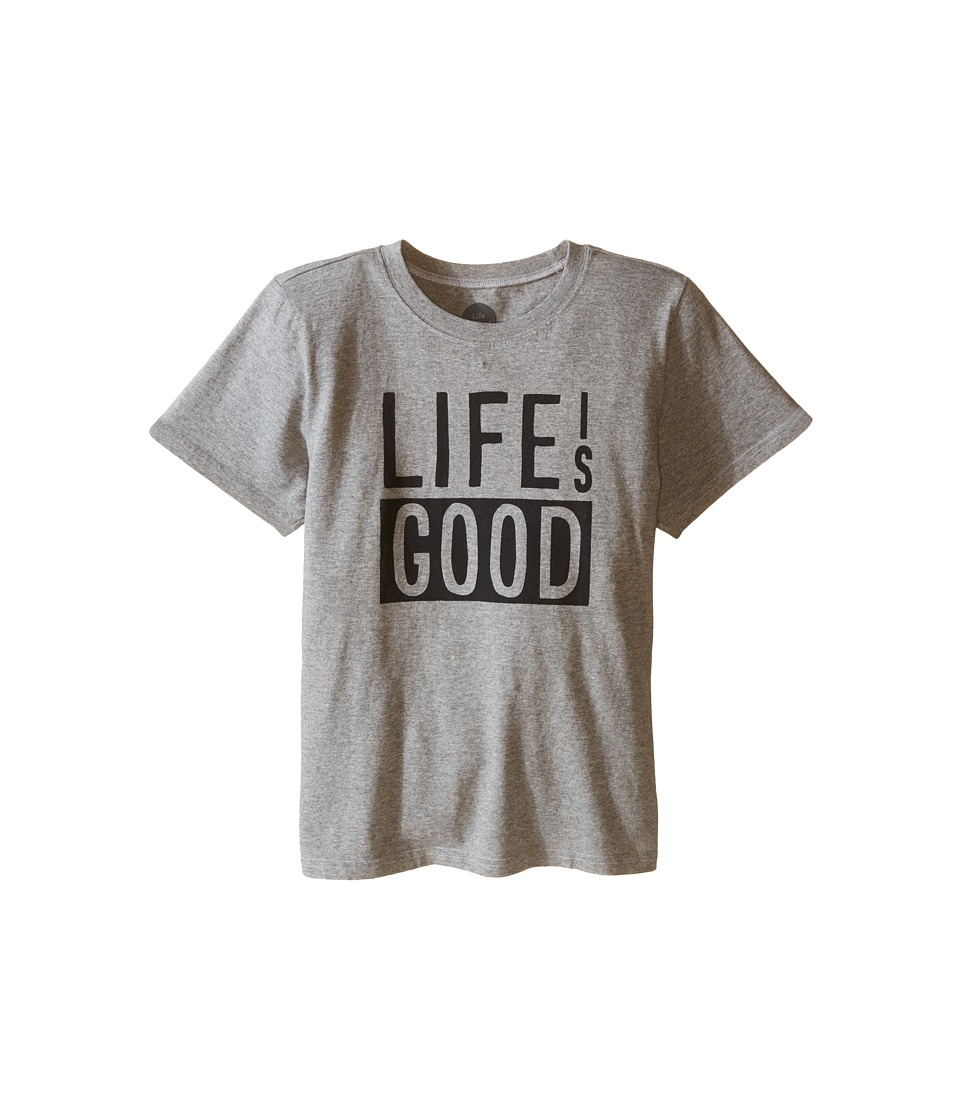 Life is good Kids - Life Is Good Block Crusher Tee (Little Kids/Big Kids) (Heather Gray) Boy