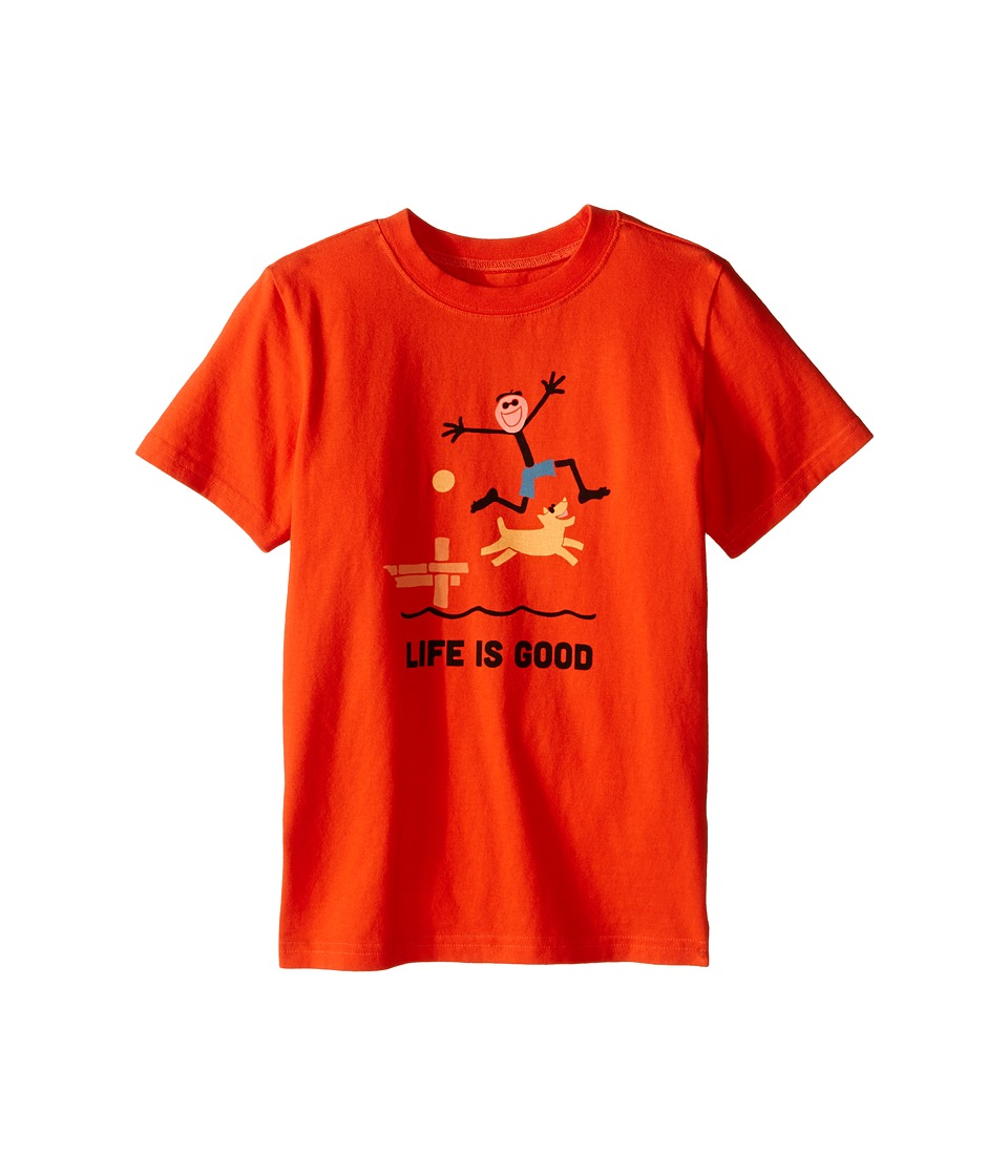 Life is good Kids - Elemental Dock Jump Crusher Tee (Little Kids/Big Kids) (Flame Orange) Boy