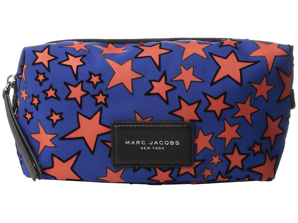 Marc Jacobs - Flocked Stars Printed Biker Large Landscape Pouch (Web Blue Multi) Cosmetic Case