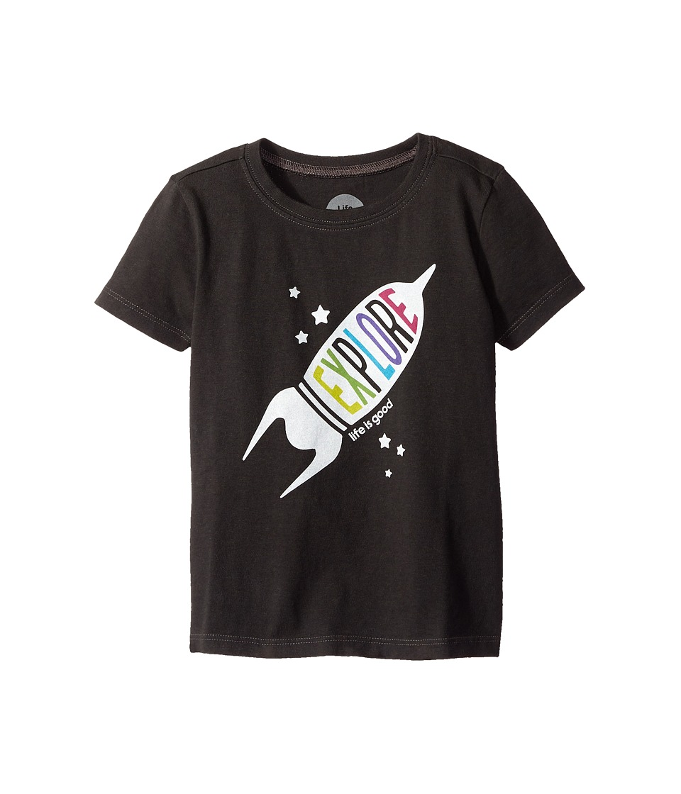 Life is good Kids - Explore Rocket Crusher Tee (Toddler) (Night Black) Boy