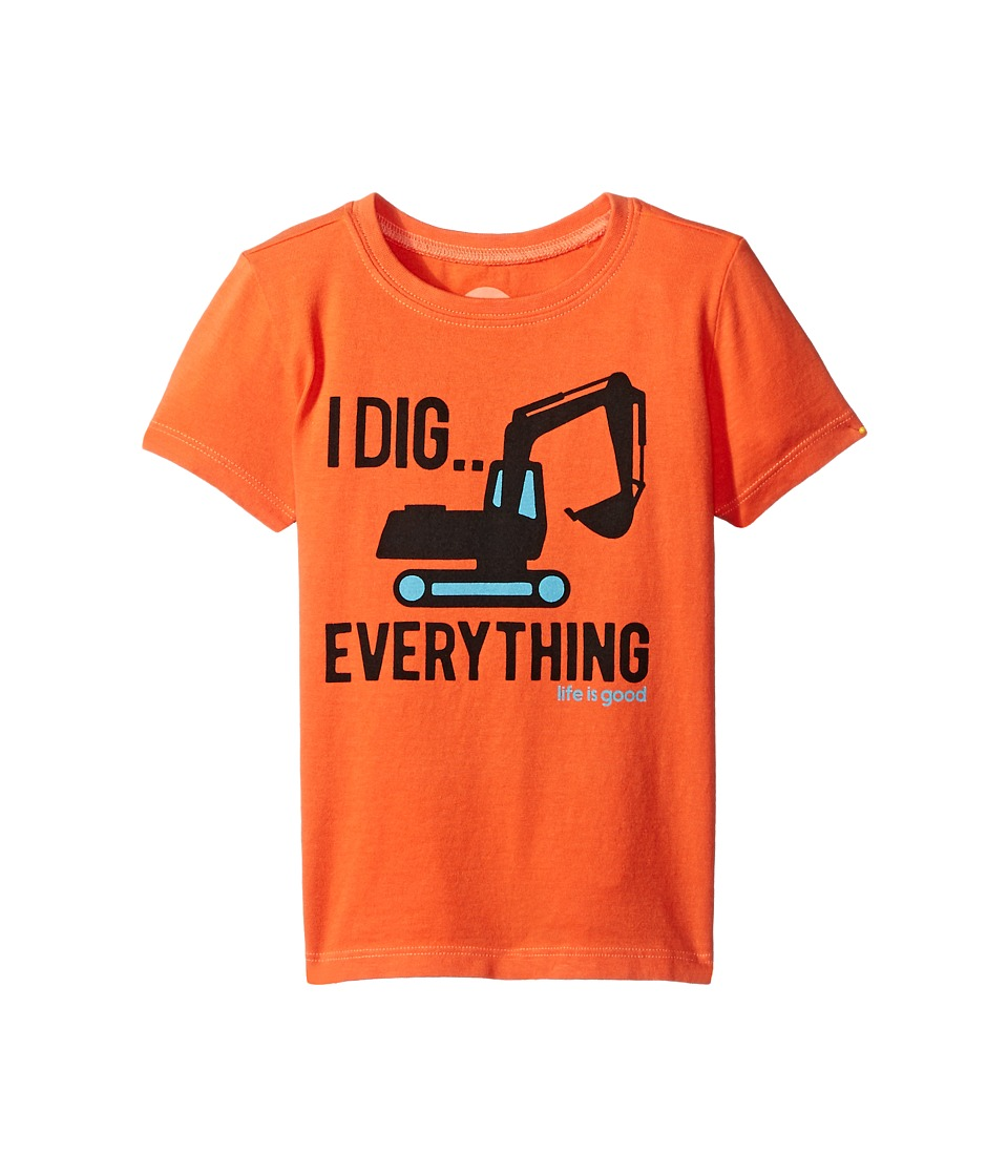 Life is good Kids - Excavator Dig Crusher Tee (Toddler) (Coral Orange) Boy
