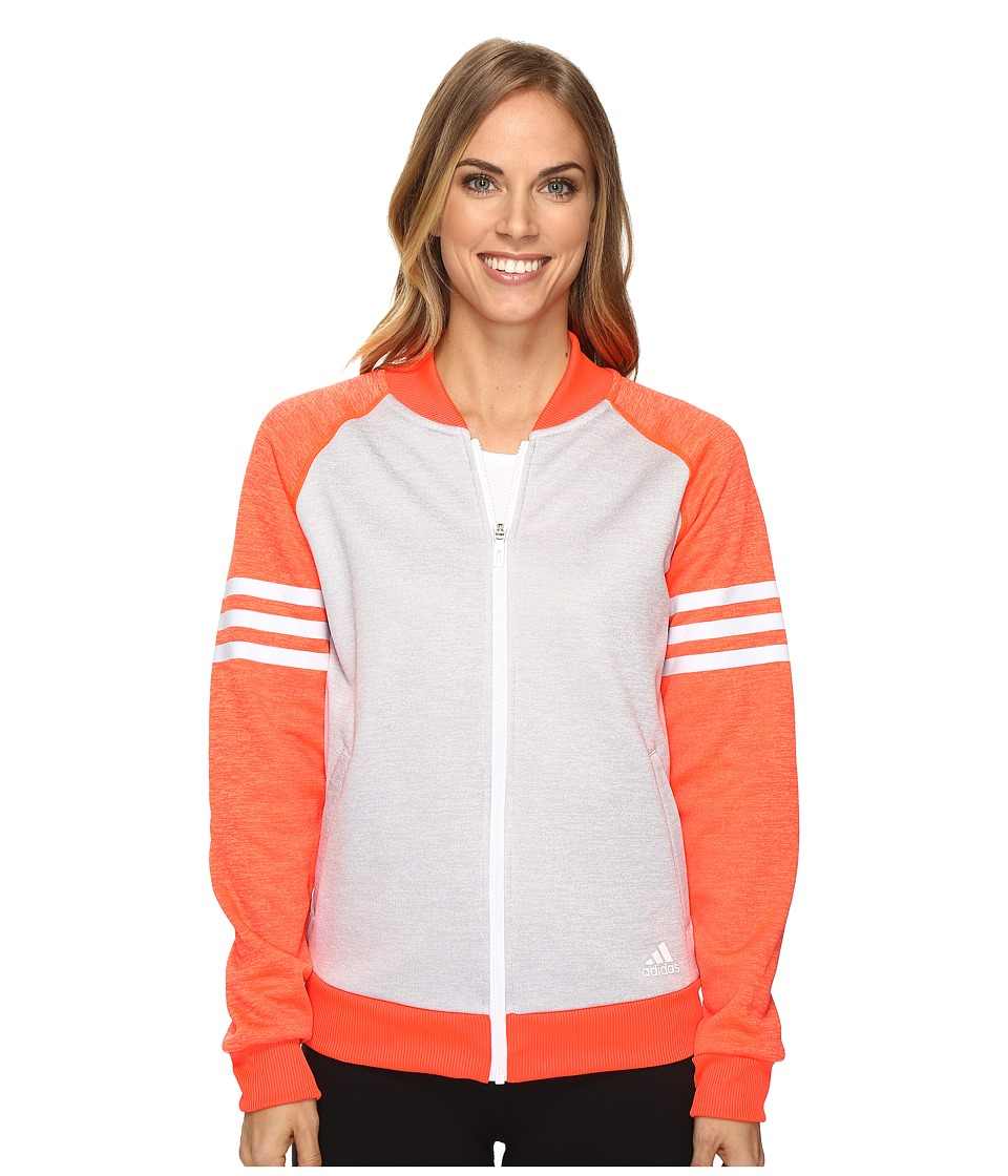 adidas Team Issue Fleece Baseball Jacket (White Heather/Solar Red Heather/White) Women