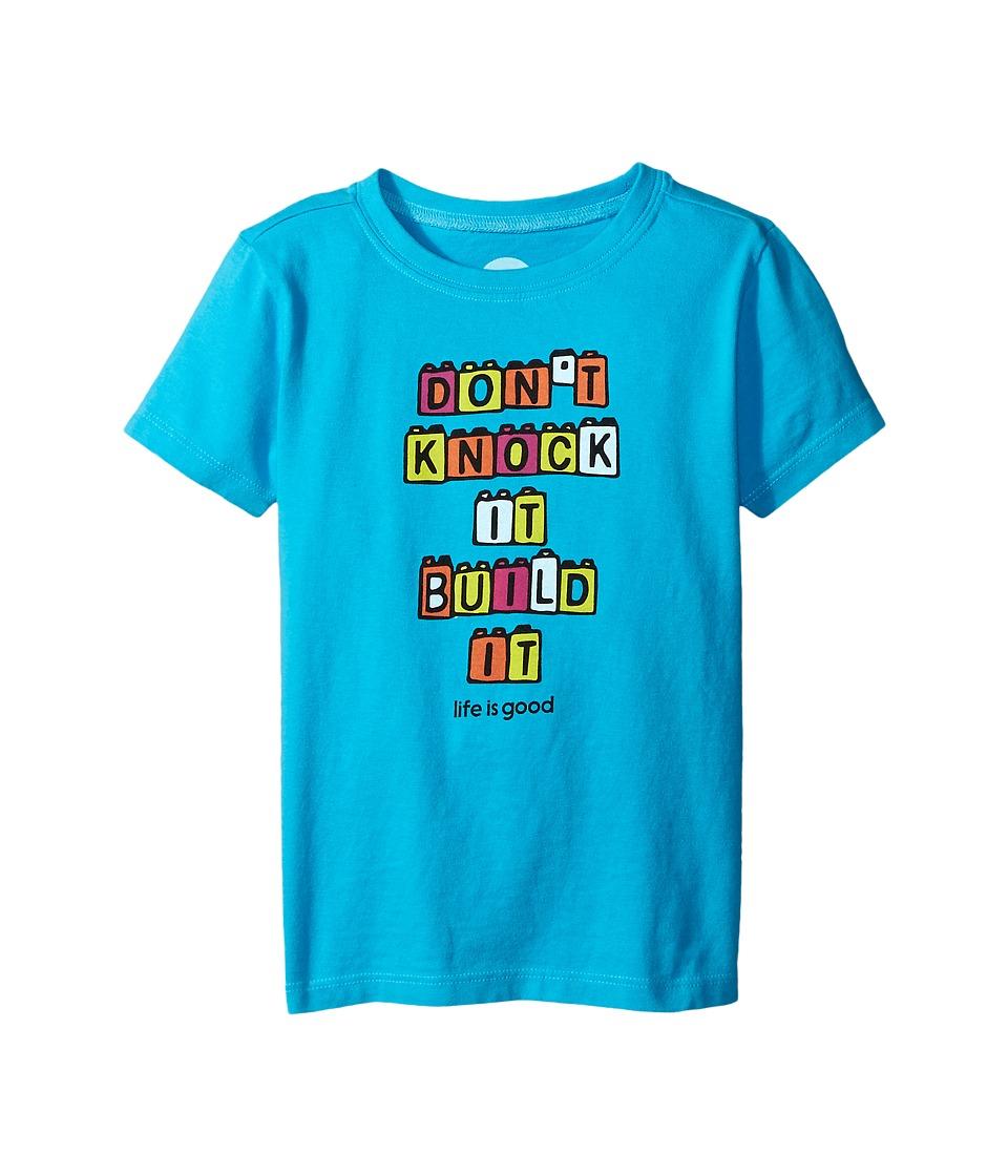 Life is good Kids Build Blocks Crusher Tee (Toddler) (Bright Blue) Kid