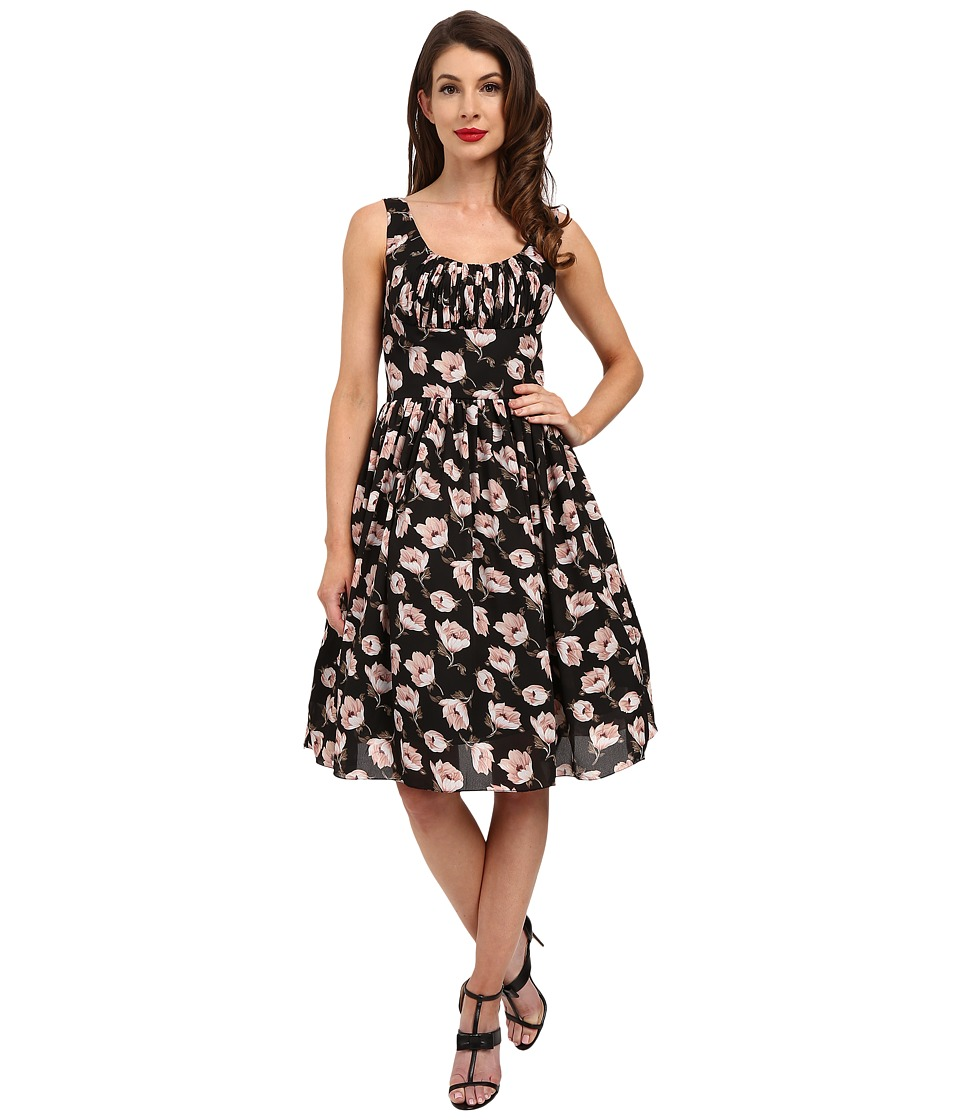 Unique Vintage Barcelona Gathered Fit Flare Dress Black Floral Womens Dress