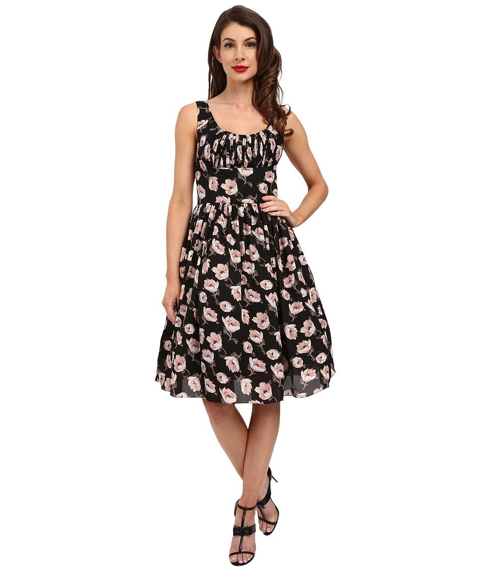 Unique Vintage Barcelona Gathered Fit Flare Dress Black Floral Womens Dress