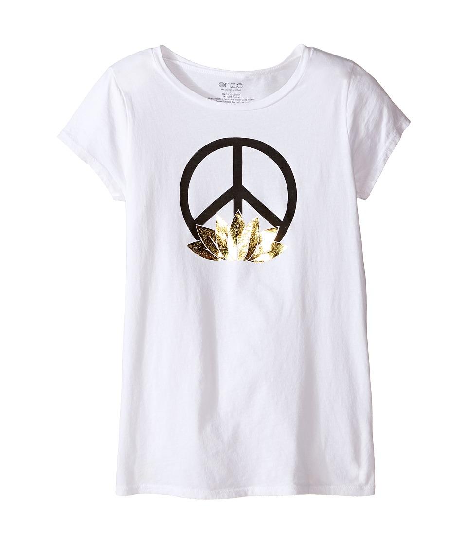 Onzie Kids Cap Sleeve Top Little Kids/Big Kids White Peace Girls T Shirt