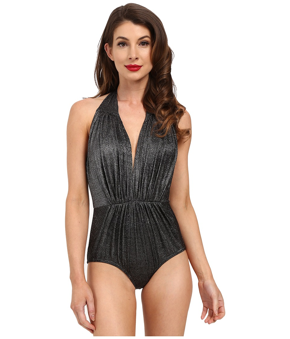 Unique Vintage Derek One Piece Swimsuit Black Glimmer Womens Swimsuits One Piece