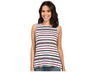 Michael Stars Striped Linen Knit Front To Back Tank Top