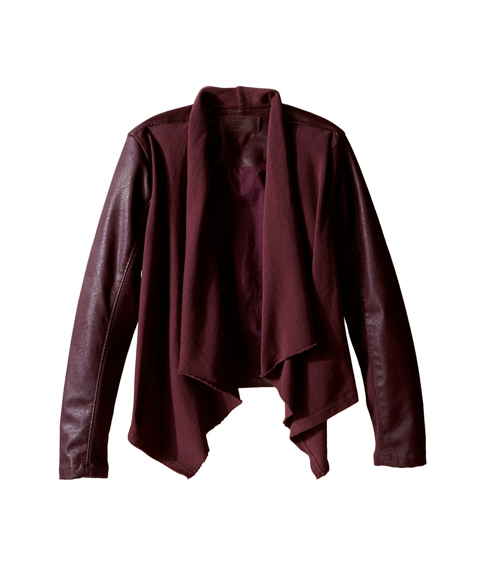 Blank NYC Kids - Burgundy Drape Front Jacket with Vegan Leather Sleeves in Oxblood