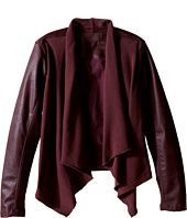 Blank NYC Kids - Burgundy Drape Front Jacket with Vegan Leather Sleeves in Oxblood (Big Kids)