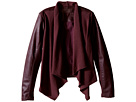 Burgundy Drape Front Jacket with Vegan Leather Sleeves in Oxblood (Big Kids)