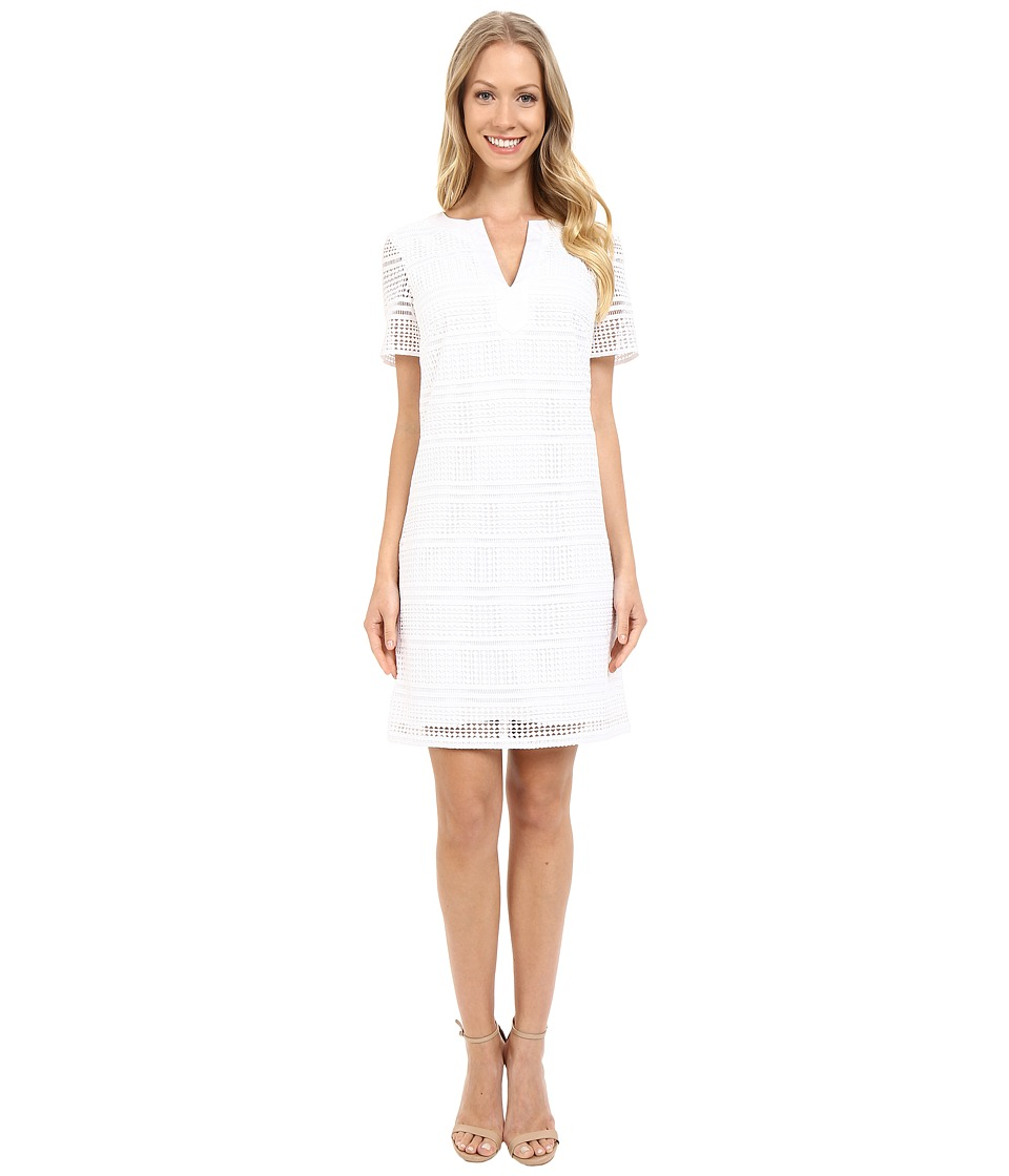 Adrianna Papell Geo Lace Split Neck Shift Dress White Womens Dress