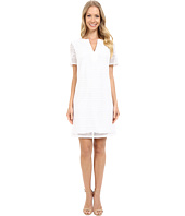 Adrianna Papell - Geo Lace Split-Neck Shift Dress