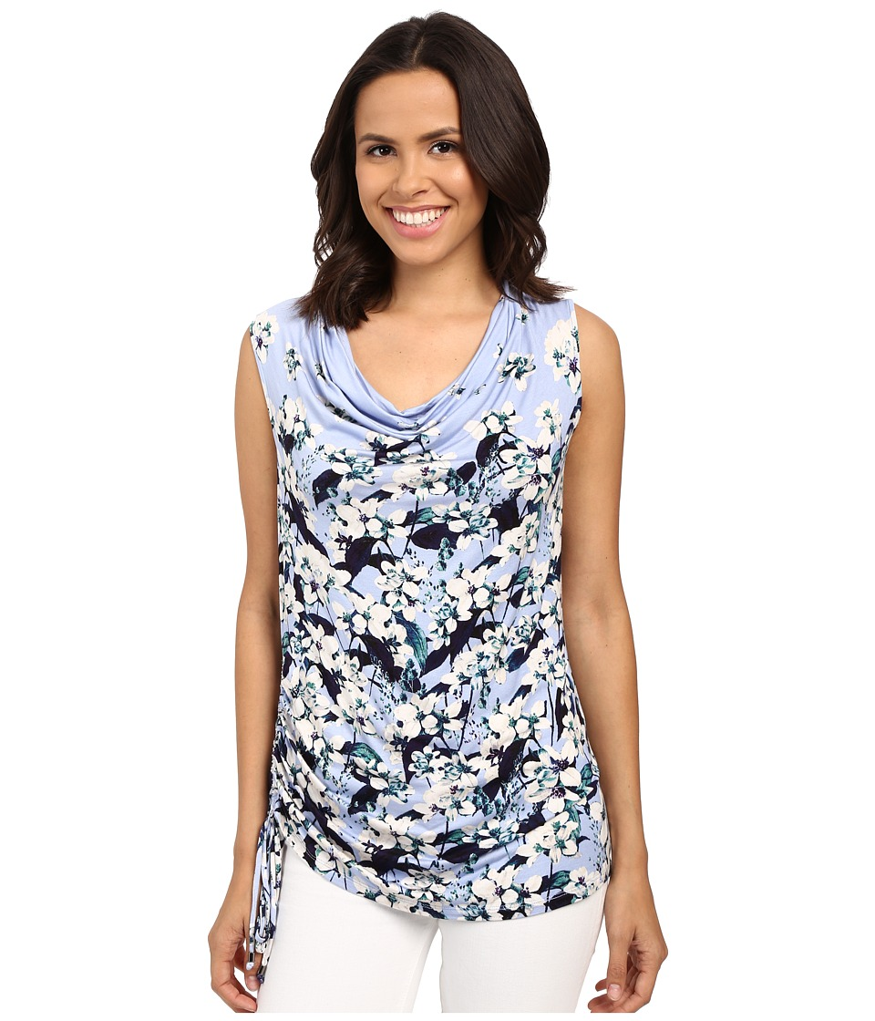 Adrianna Papell Print Scoop Neck Side Ruched Top Crocus Multi Womens Blouse