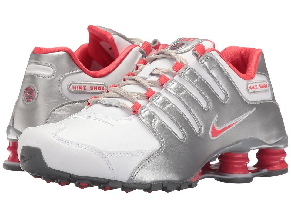 Nike Shox NZ (White/Ember Glow/Metallic Silver/Cool Grey/Pure Platinum) Women's Shoes