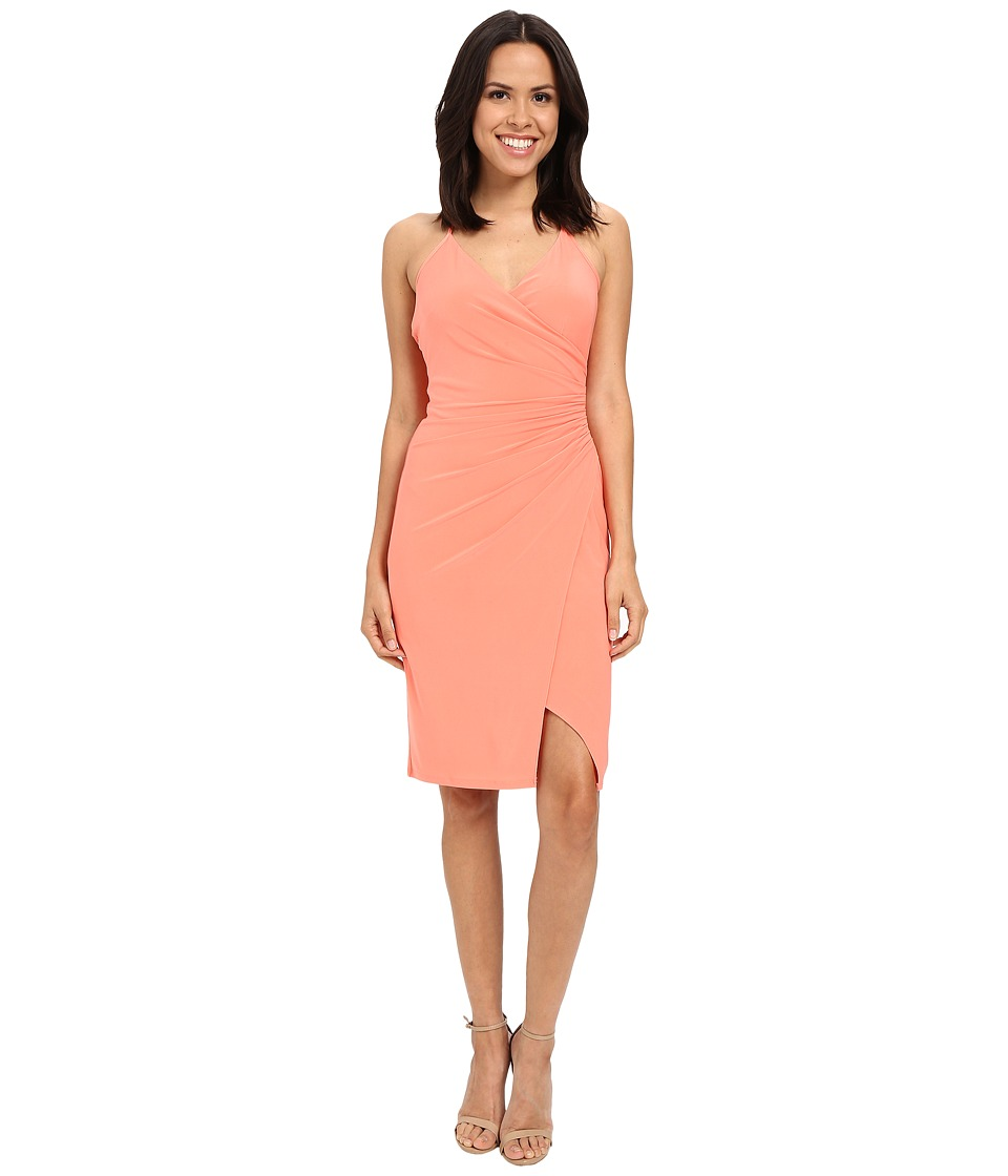 Laundry by Shelli Segal Wrap Jersey Dress with Side Shirring Fresh Salmon Womens Dress