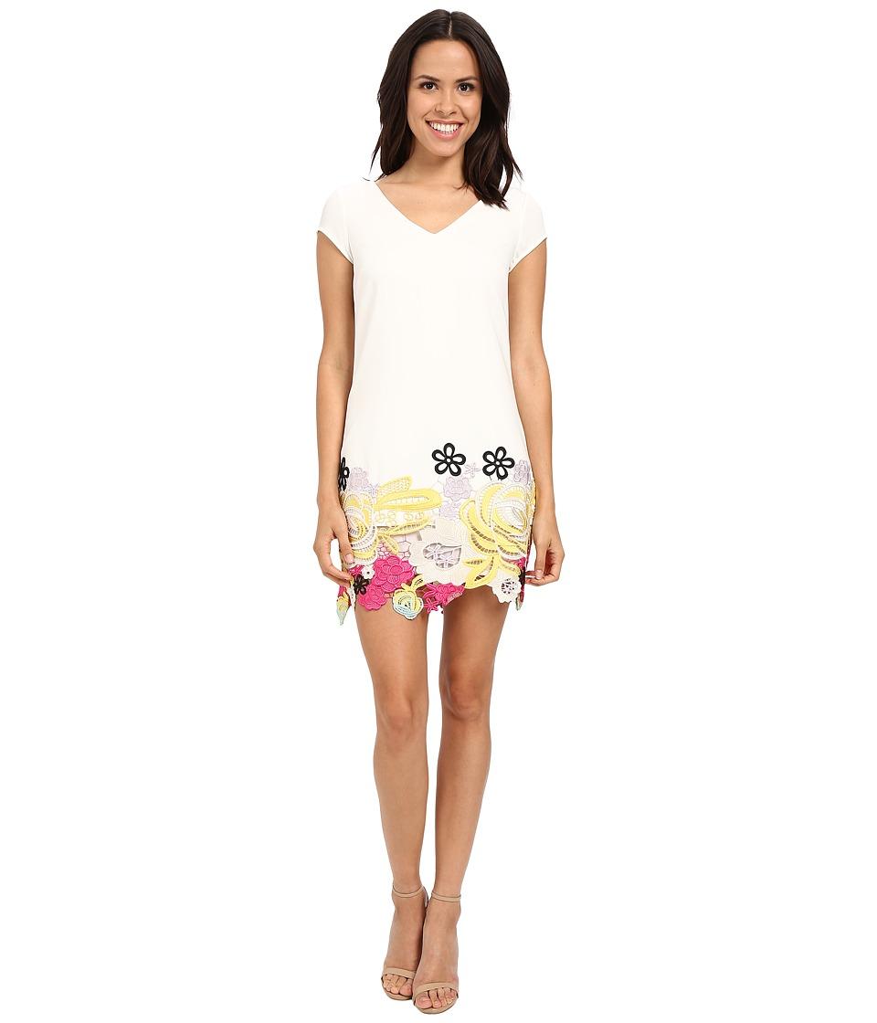 Laundry by Shelli Segal Sheath Dress with Lace Hem Warm White Womens Dress