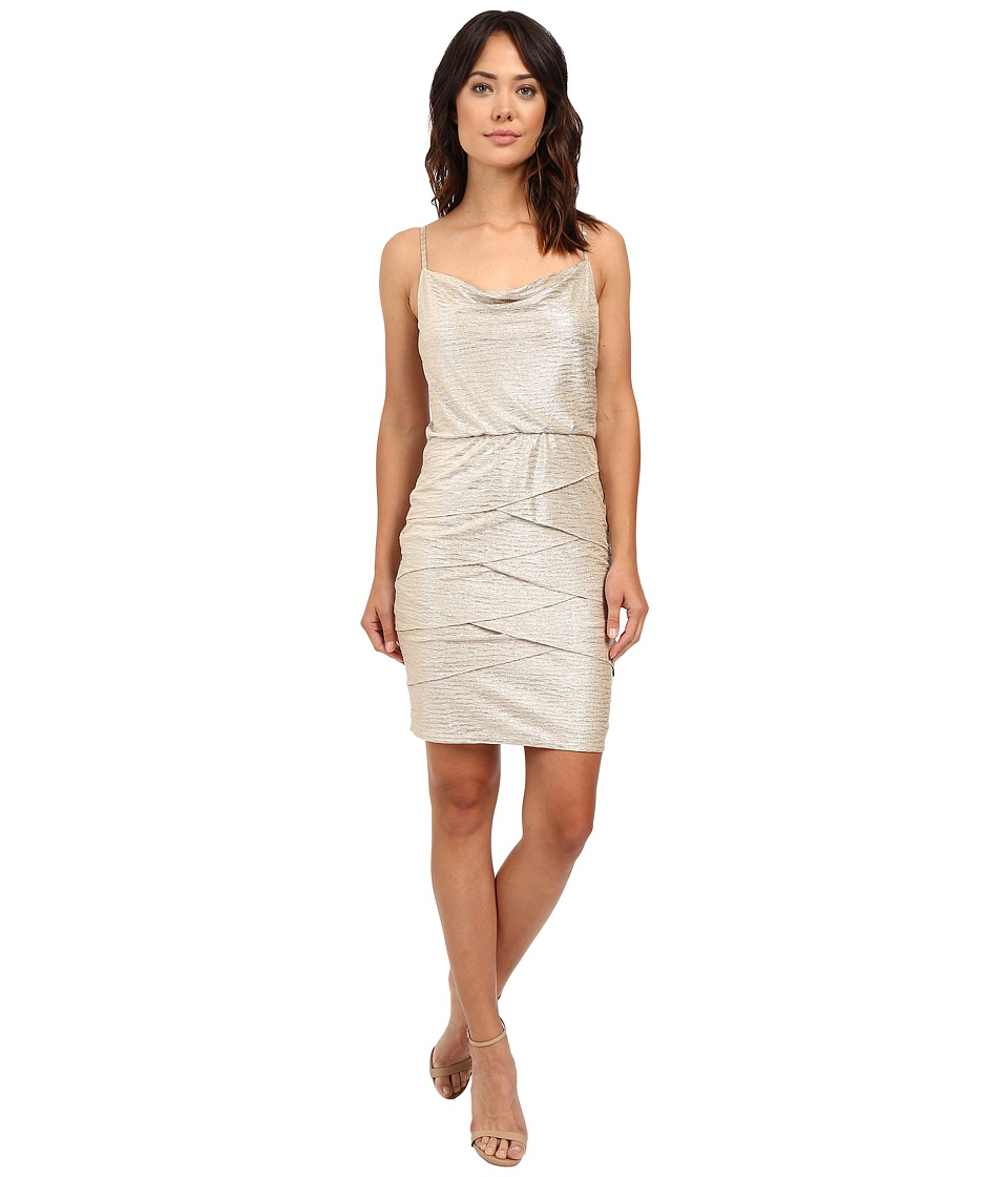 Laundry by Shelli Segal Ruckle Metallic Draped Front/Blouson Tiered Dress Gold Womens Dress