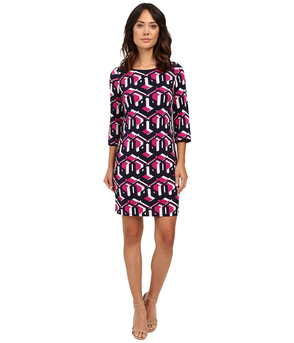 Laundry by Shelli Segal Lock Eyes 3/4 Sleeve Printed Matte Jersey Dress Electric Pink Womens Dress