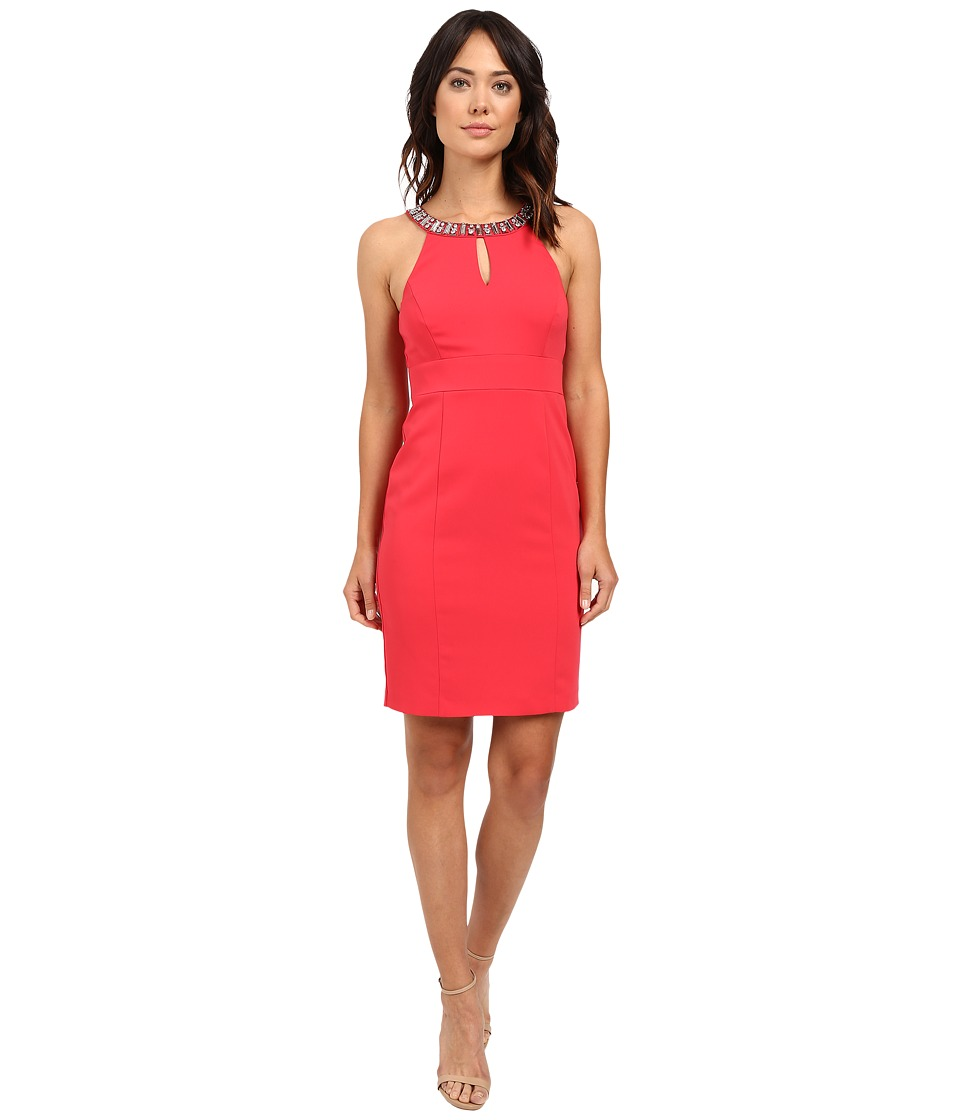 Laundry by Shelli Segal Montreal Stretch Embellished Neck Cutaway Cocktail Dress Coral Rage Womens Dress