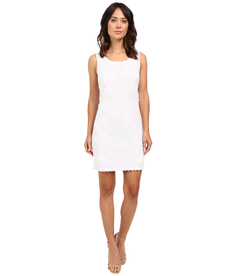 Laundry by Shelli Segal Embroidered Mesh Sleeveless Dress Optic White Womens Dress