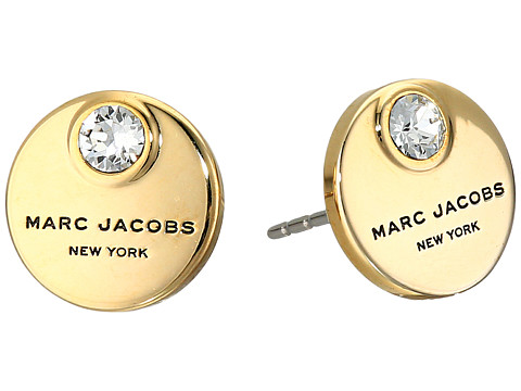 Marc Jacobs MJ Coin Studs Earrings - Crystal/Gold