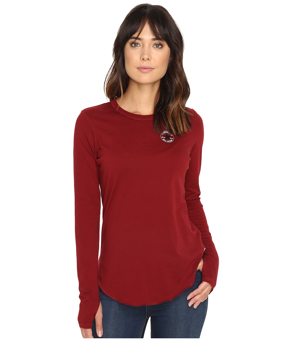 Converse Left Chest Core Patch Logo Long Sleeve Tee (Red Block) Women