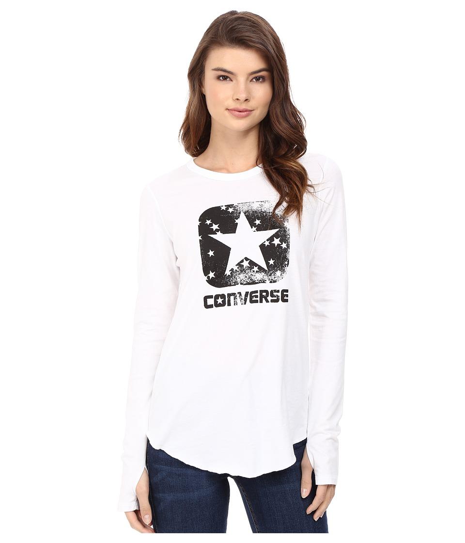 Converse Star Print Long Sleeve Tee (White) Women
