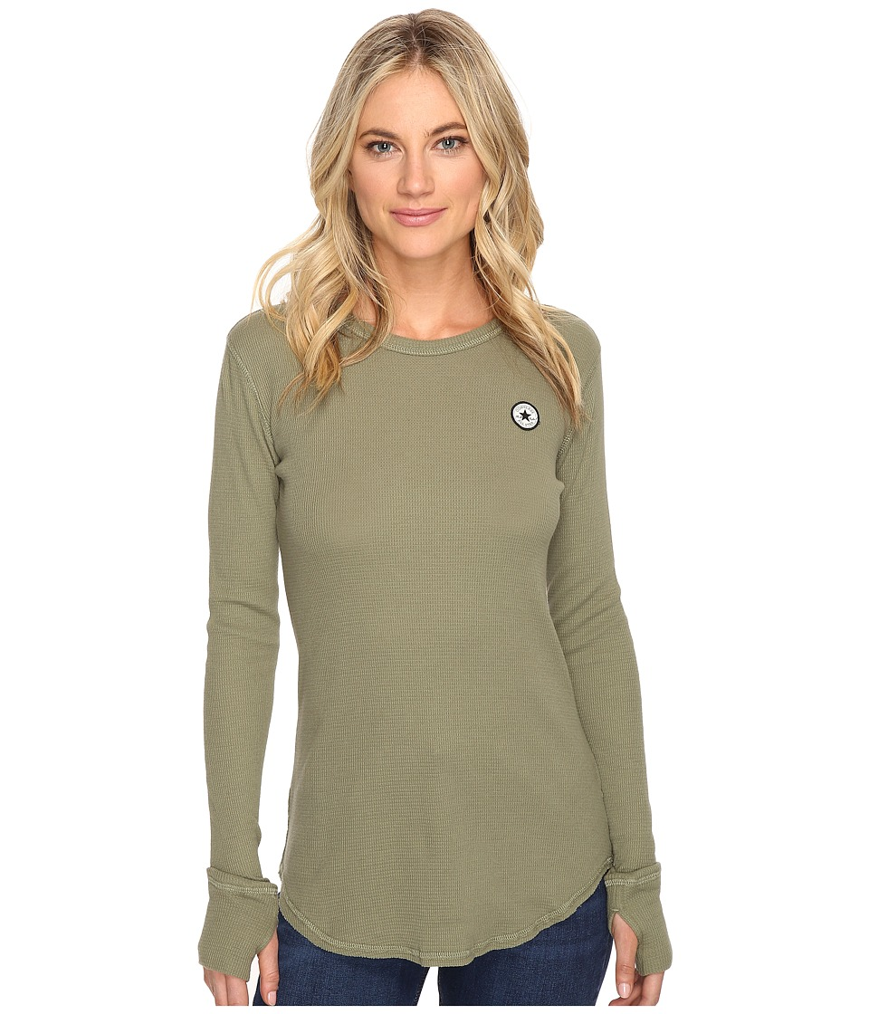 Converse Thermal Thumbhole Long Sleeve Tee (Fatigue Green) Women
