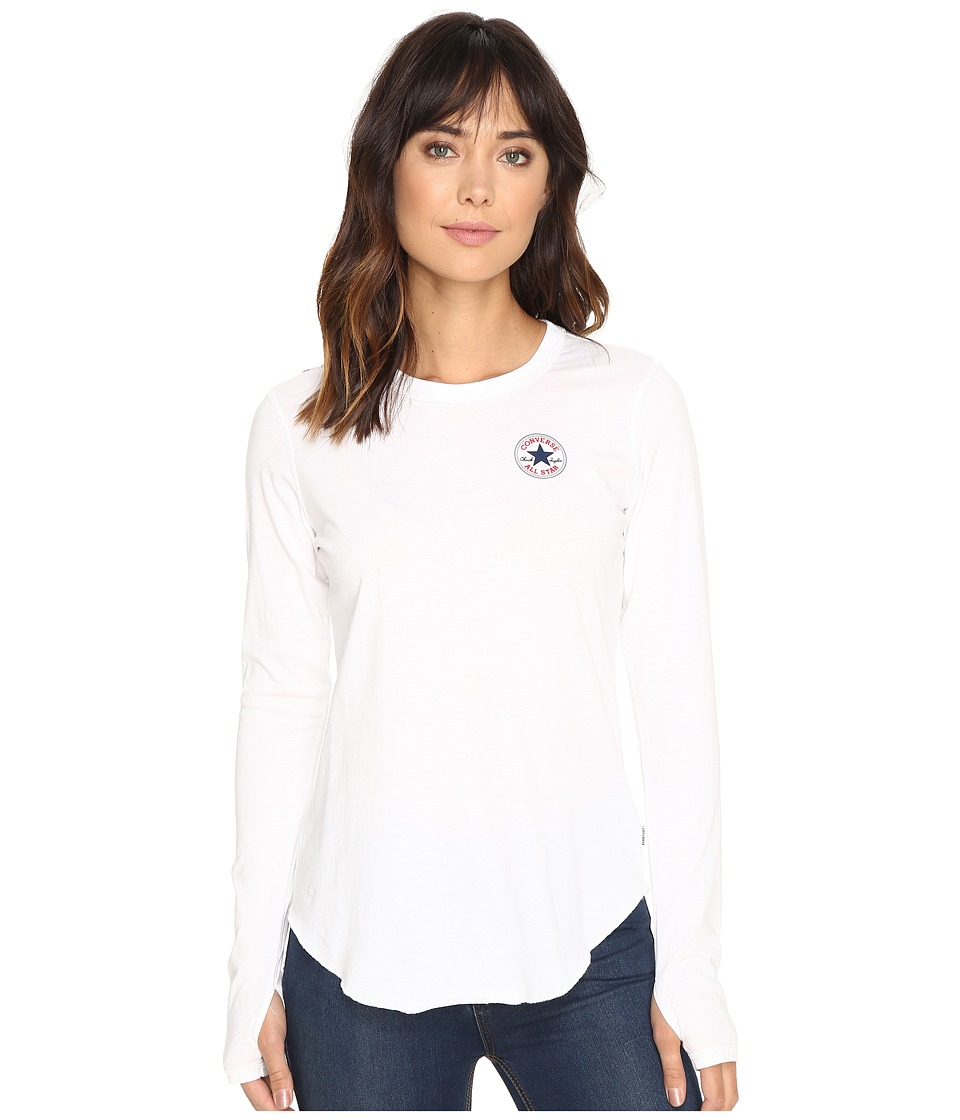 Converse - Left Chest Core Patch Logo Long Sleeve Tee (White) Women