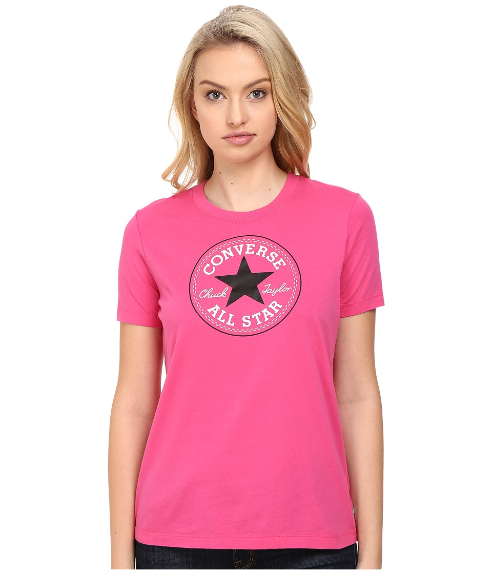 Converse Core Solid Short Sleeve Core Patch Crew Tee (Vivid Pink) Women