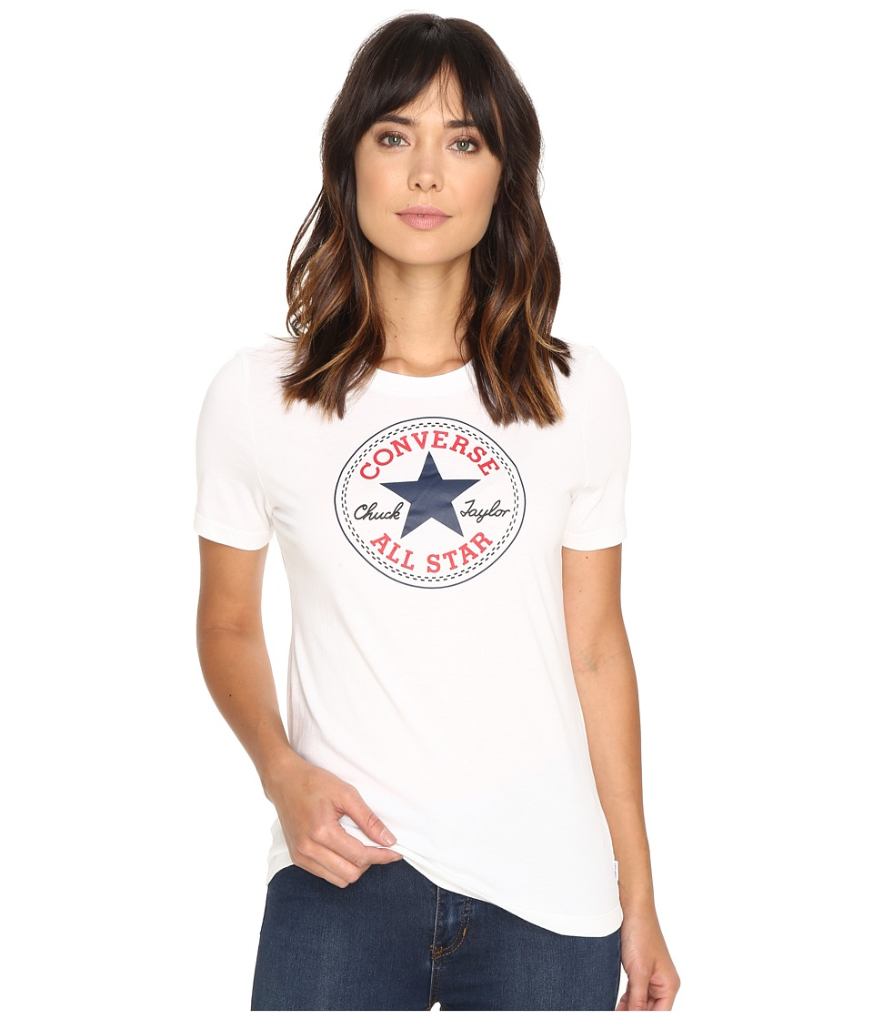 Converse Core Solid Short Sleeve Core Patch Crew Tee (White) Women